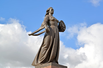 "Monument ""Mother Russia"" against the sky in Kaliningrad"