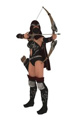 Masked female assassin archer aims bow and arrow