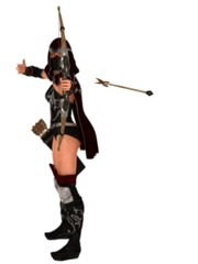 Masked female assassin archer looses arrow