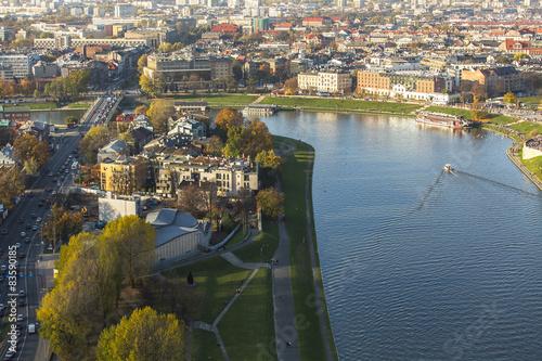 Obraz na Plexi Top view of Vistula river in Cracow (Krakow), Poland.