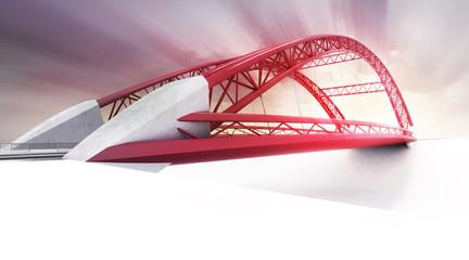 red highway bridge in perspective view