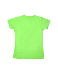 Green t-shirts isolated on white