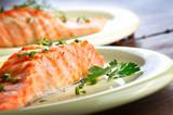 Fototapety Fried salmon fillet