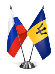 Russia and Barbados - Miniature Flags.