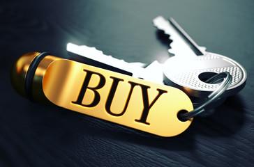 BUY Concept. Keys with Golden Keyring.