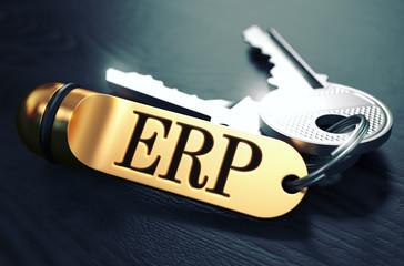 ERP Concept. Keys with Golden Keyring.