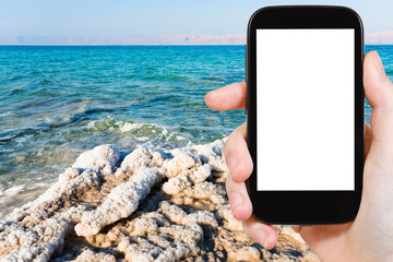 photo of crystalline coastline of Dead Sea, Jordan
