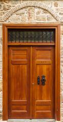An antique wooden door.