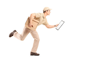 Delivery guy running with a cardboard box