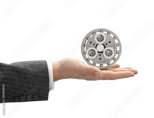 Poster hand with metal gearbox with clipping path
