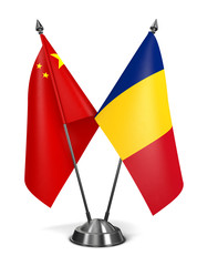 China and Romania - Miniature Flags.