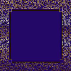 Fancy Decorative square Background - Purple/Gold - blue insert
