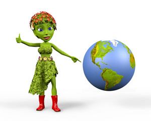 Green Girl with globe giving a thumbs up