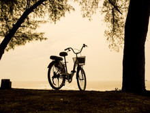 bicycle silhouette on a sunset. Summer landscape