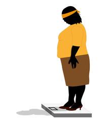 illustrazione ironica di donna robusta che si pesa bendata