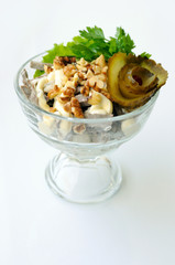 salad with liver and walnuts