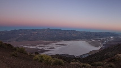 Badwater Basin, death Valley at Dantes View Sunrise Timelapse