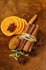 fragrant cinnamon sticks, anise, cardamom and orange
