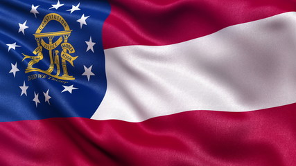 US state flagof Georgia waving in the wind - seamless loop