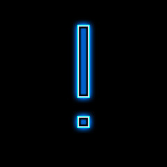 Neon exclamation mark is blue
