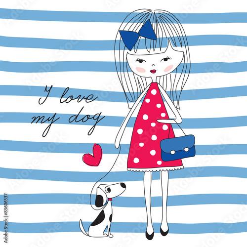 Fototapeta girl with dog vector illustration