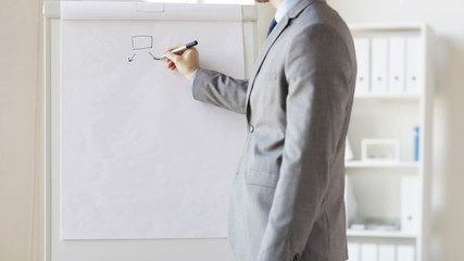 close up of man drawing business scheme at office