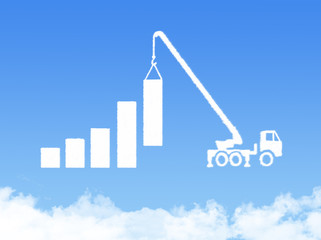 Cloud shape showing a crane pulling the last bar in a graph up