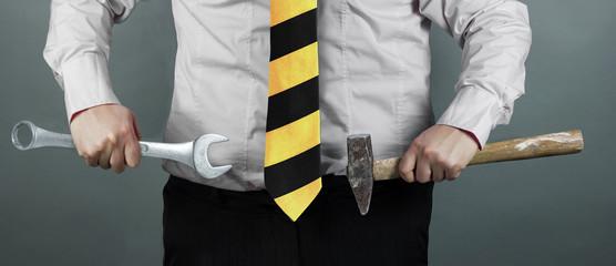 Businessman Under Construction Krawatte