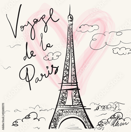 Poster Vector hand drawn illustration with Eiffel tower