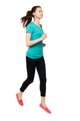 front view of running sport woman.