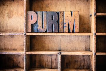 Purim Concept Wooden Letterpress Theme