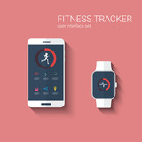 Fitness tracker app graphic user interface for smartwatch and poster