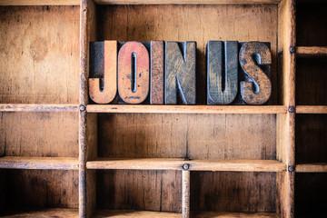 Join Us Concept Wooden Letterpress Theme
