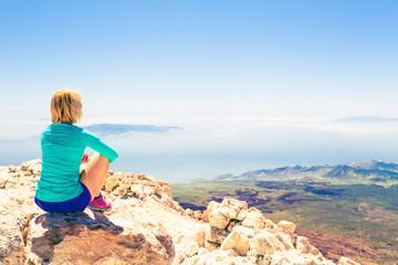 Woman meditation beautiful inspirational landscape