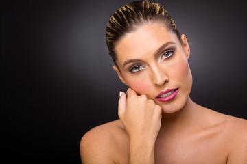 caucasian woman with fresh makeup