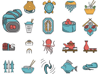Flat color icons for seafood menu
