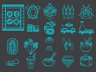 Blue line icons for japanese menu