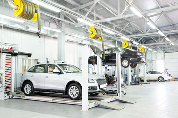 Cars in a dealer repair station in Moscow, Russia