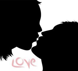 silhouette di ragazzi che stanno per baciarsi