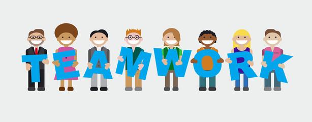 Teamwork Mitarbeiter halten Buchstaben