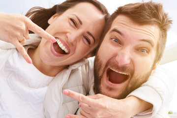 happy screaming couple