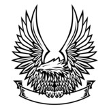Vector Eagle Emblem, Wings Spread, Holding Banner - 83622374