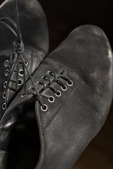 Closeup Shot of Pair of Worn-out Latin Ballroom Dance Shoes