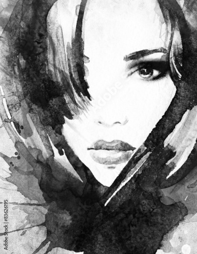 woman portrait .abstract watercolor © Anna Ismagilova