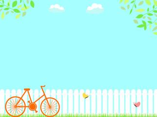 自然の風景と自転車