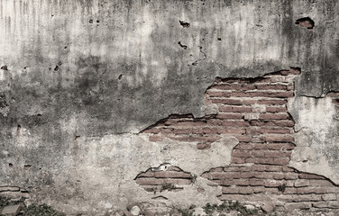 Black and white tone old brick wall background