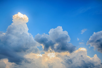 Clouds before storm with blue sky