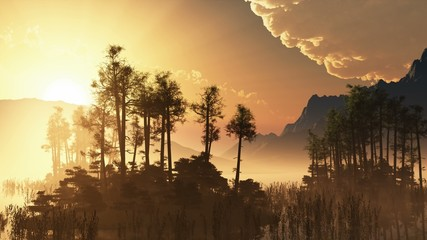 trees on mountain lake islands. sunset