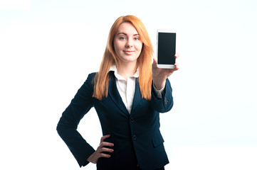 young woman demonstrates a phone