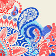 flowers and paisley pattern decorative doodle Colorful backgroun